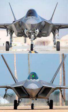 The geometry of the engine intakes distinguishes the two aircraft from the top and side. The Raptor's intakes angle back. On the Lightning II, they point forward. Intake differences are visible from the front view as well. Opposing sides of the F-22's intakes are parallel. The corners are slightly rounded. The F-35's intake angles are sharper. A space between the intake and the fuselage, called a diverter, is found only on the Raptor as well. The F-35's diverterless intake sits flush to…
