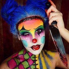 Nicole Guerriero Mörder Halloween Clown Make-up Tutorial Scary Clown Makeup, Scary Clowns, Halloween Face Makeup, Womens Clown Makeup, Circus Makeup, Mime Makeup, Halloween Hair, Halloween Horror, Maquillage Halloween Clown