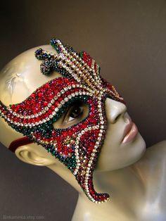 Crystal Butterfly Mask Red Emerald by binkaminka