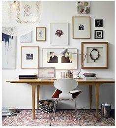 framed images on office wall