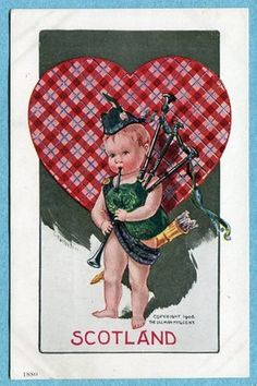 Charles Twelvetrees postcard, Scotland, Bagpipes