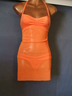 Orange Mesh LaceUp Halter Ladies sz L   by MakeAMillion on Etsy, $35.00