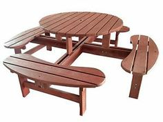 179,46 + 30,33 de livraison. Boutique Shop-Until-You-Drop-24hrs-A-Day sur ebay  Table Ronde de Jardin avec Bancs 8 Places - en Bois Marron