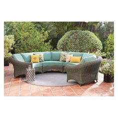 Martha Stewart Living? Lake Adela Curved Sectional Set ($1,979) ❤ liked on Polyvore featuring home, outdoors, patio furniture, all weather patio furniture, all weather outdoor furniture, outdoor sectional, home decorators collection and outdoor furniture