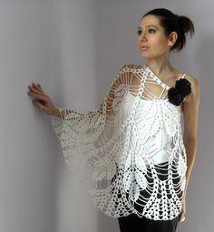 WHITE LEAVES- Hand Crochet Lace Wrap Shawl - White - Luxury - Bridesmaid Wedding - Cocktail on Etsy, $180.00
