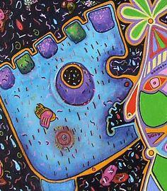 A Circular Life...Let me Out? (detail)  - Retablo, Contemporary art, abstract art, painting, acrylic painting, Arizona contemporary artist Veronica Escudero