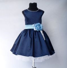 Navy Blue Flowergirl Dress, Chiffon flower girl Dress, Lace Dress for Girl, Dark Blue flowergirl dress, Wedding junior bridesmaids dress