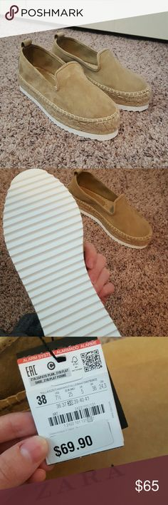 ZARA Basic Collection Platform Shoes NEW w/ tags ZARA Basic Collection tan platform espadrilles. NEW WITH TAGS AND SHOE BOX. These are super cute and will go with tons of stuff. Feel free to make an offer!! Zara Shoes Espadrilles