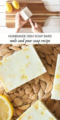 Homemade dish soap bars are made with simple ingredients and can effectively cut grease and grime. An all-natural dish soap bar makes dish washing easier and more effective. Homemade soap bars don't require any special equipment and can be made with only Homemade Dish Soap, Melt And Pour, Savon Soap, Soap Making Recipes, Natural Cleaning Products, Bar Soap, 2 Ingredients, Soap Base, Natural Soaps