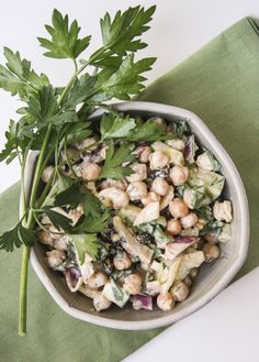 Curried chickpea and yogurt salad. Hearty and refreshing.