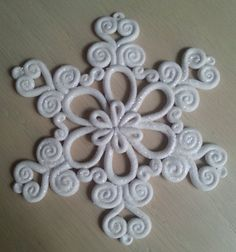 This handcrafted polymer clay snowflake ornament was carefully crafted with a keen attention to detail and made with love.  The item pictured may