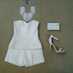Trina Turk textured strapless top, Rebecca Taylor perforated short, BCBG multi strand white multi strand seed bead necklace, Jeffrey Campbell Burke ecru and white sandal.
