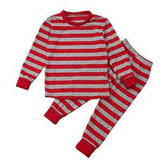 dd2bea3080a9 TiTCool Baby Boy Girl Striped TopsStriped Pants Christmas Santa Outfits  Clothes Set 8T Red  gt