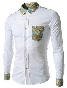(CE92-WHITE) Slim Fit Stretchy Pattern Patched 1 Chest pocket Long Sleeve Shirts African Shirts For Men, African Attire For Men, African Clothing For Men, Latest African Fashion Dresses, African Dresses For Kids, African Print Fashion, African Wear, Stylish Shirts, Stylish Men