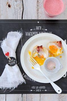 Muffins de pan con huevo, beicon y queso by Food and Cook