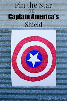 Pin the Star on Captain America's Shield party game tutorial. Great for Avenger theme birthday parties or halloween events! #AvengersUnite #ad