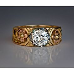 Art Nouveau Russian Diamond Solitaire Men's Ring ($11,970) ❤ liked on Polyvore featuring men's fashion, men's jewelry, men's rings, mens diamond rings, mens rings, mens green ring, rose gold mens ring and mens watches jewelry