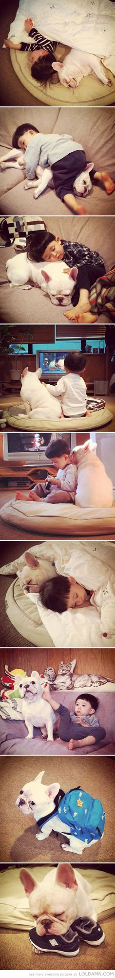 The sweetest friendship…cute boy with his best dog friend.