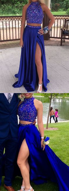 two piece prom dresses,royal blue prom dresses,sexy prom dresses,split prom dresses,prom dresses for teens @SevenProm