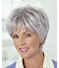 Fashion Short Grey Hair Wig For Women - March 10 2019 at Grey Hair Tan Skin, Ash Grey Hair, Grey Hair Wig, Short Grey Hair, Short Hair Wigs, Hair Styles For Women Over 50, Short Hair Cuts For Women, Short Hairstyles Fine, Wig Hairstyles
