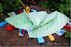 How to make a tag blanket.  Simple, easy, and cheap baby shower present.