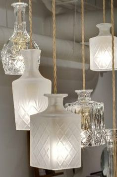 Upcycled glass wine decanter light pendants