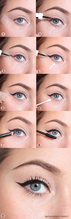 Winged Eyeliner Tutorials - The Sticky Trick For Perfect Winged Eyeliner- Easy Step By Step Tutorials For Beginners and Hacks Using Tape and a Spoon, Liquid Liner, Thing Pencil Tricks and Awesome Guides for Hooded Eyes - Short Video Tutorial for Perfect Simple Dramatic Looks - thegoddess.com/winged-eyeliner-tutorials #wingedlinertricks