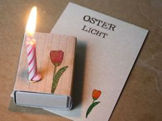 Osterlicht mit Tulpe // small candle with easter greeting card via DaWanda.com
