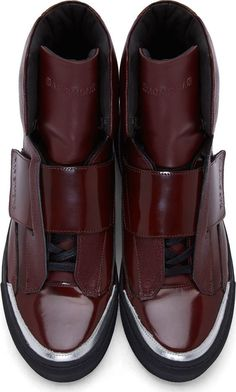 Raf Simons x Sterling Ruby Burgundy Patent   Etched Leather High-Top  Sneakers Scarpe Da e58bf733067
