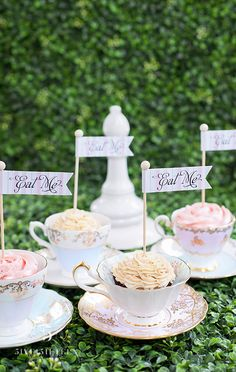 "Adorable teacup cupcakes for an ""Alice in Wonderland"" themed bridal shower"