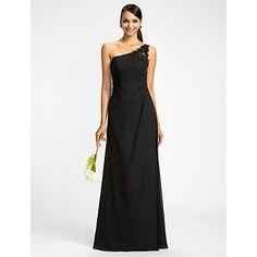 un piso-longitud del vestido de la dama de honor de la gasa del hombro vaina / columna (605513) – EUR € 84.14