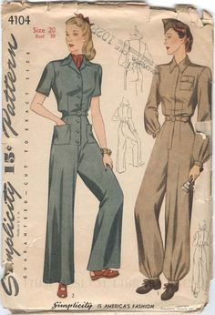 Women's Simplicity Coverall pattern, circa 1942-45. During the war, women worked outside the home in record numbers. As many worked with heavy machinery in factory settings, a practical, washable coverall was a common uniform. Whether intended for work-wear or practical day-dress, this pattern clearly demonstrates the overriding themes of the World War II years: practical austerity and unity of purpose.