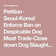 Petition · Seoul-Korea! Enforce Ban on Despicable Dog Meat Trade-Close down Dog Slaughterhouses-Gyeongdong Market! · Change.org