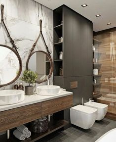 Industrial Style Bathrooms Plus Ideas & Accessories You Can Copy From Them - industrial Bathroom - Indusrtial Design Industrial Bathroom Design, Industrial Interiors, Bathroom Interior Design, Bathroom Styling, Modern Bathroom, Industrial Style, Small Bathroom, Bathroom Designs, Minimalist Bathroom Mirrors