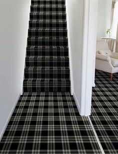wallpapered stairs - Google Search Val: Could paint predominantly white too