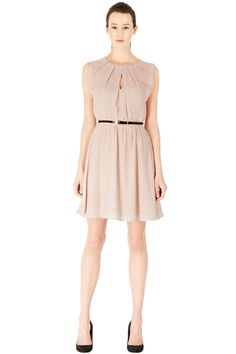 Warehouse DOTTY SPOT PLEAT NECK DRESS