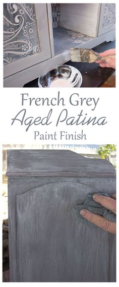 Create a Gorgeous French Grey Aged Patina Finish! I love this beautiful Furniture Painting Technique by Thicketworks for Graphics Fairy. Great for getting that perfect Farmhouse Look!