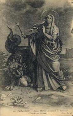 carte postale Tarascon - 02 Sainte-Marthe domptant la Tarasque - C, DV, Départements français : 01 à 25 13 BOUCHES DU RHONE