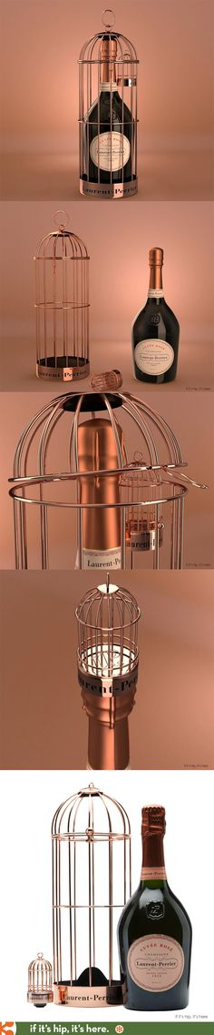 Laurent-Perrier Rosé Champagne Birdcage edition comes with a gilded cage for carrying and a miniature birdcage to use as a stopper.