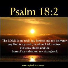 """""""The Lord is my rock, my fortress and my deliverer; my God is my rock, in whom I take refuge, my shield and the horn of my salvation, my stronghold."""" #Psalm 18:2"""