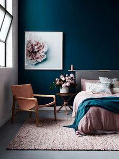 Dark blue walls in bedroom