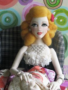 "OOAK Molly 22"" Vintage Inspired Lady Art Doll All Cloth BJD Size Gayle Wray…:"