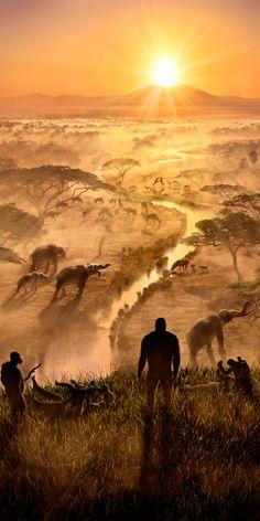 Homo rudolfensis in the African Trench Ma ago by Rodolfo Nogueira Prehistoric Wildlife, Prehistoric World, Prehistoric Creatures, Jurassic Park World, Extinct Animals, Dinosaur Art, Science And Nature, Mammals, Science Fiction