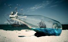 Ship in bottle Desktop wallpaper Ship In Bottle, Bottle Art, Twitter Backgrounds, Desktop Backgrounds, Hd Desktop, The Beach, Sand Beach, Beach Bum, 1080p Wallpaper