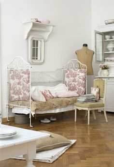 love the antique crib with the toile and yet another dress box room office ideas