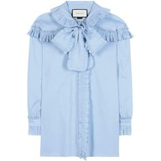 Gucci Ruffled Cotton Blouse (60,985 PHP) ❤ liked on Polyvore featuring tops, blouses, blue, blue ruffle blouse, cotton blouses, frill blouse, flounce blouse and frilly tops
