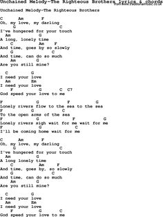Love Song Lyrics for: Unchained Melody-The Righteous Brothers with chords for Ukulele, Guitar Banjo etc.