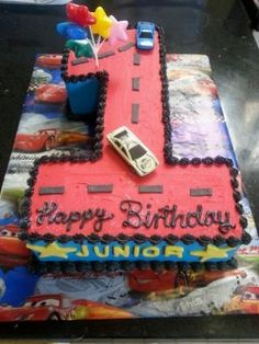 Number 1 cake for birthday boy  with metal cars