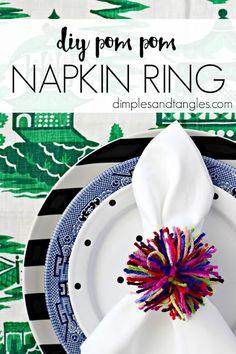 DIY POM POM NAPKIN RING  ||  DIMPLES AND TANGLES