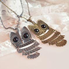 Retro Cute Owl Sweater Necklace